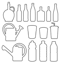 Bottle collection line silhouette vector