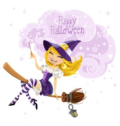 Cute witch flying on a broom vector