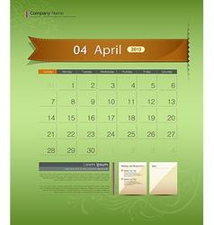 April 2013 calendar vector