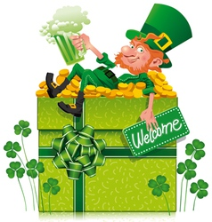 Leprechaun with box vector