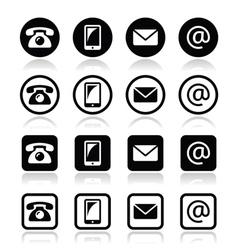 Contact icons in circle and square set - mobile vector