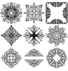 Set of 9 ornamental design elements vector