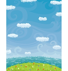 Summer background with cloudy sky sea and lawn vector