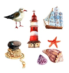 Watercolor nautical set vector