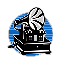 Vintage gramophone and old house vector