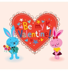 Bunnies in love valentine card vector