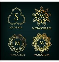 Set of luxury simple and elegant monogram vector