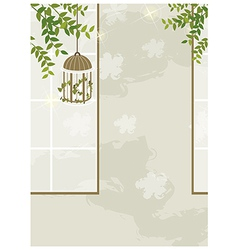 Bird cage leaves interior vector