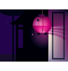 Asian house and paper lantern vector