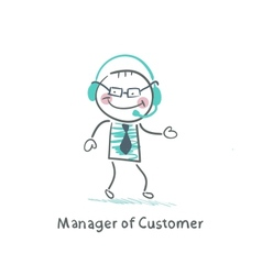 Manager customer manager with to headphones vector