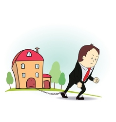 Cartoon character with iron chain and house vector