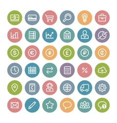 Set of flat round business icons vector