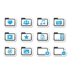 Folder documents music film icons set vector