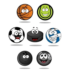 Set of cartoon sports balls characters vector