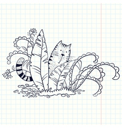 Cat in the grass vector
