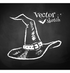 Chalkboard drawing of witches hat vector