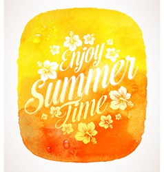 Summer time greeting with tropical flowers vector