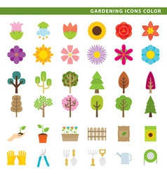 Gardening icons color vector