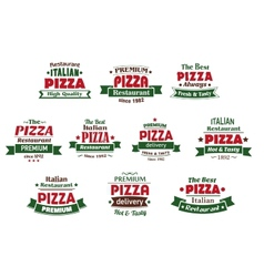 Italian premium pizza banners and labels vector