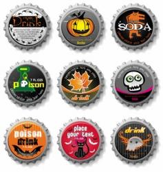 Spooky halloween bottle caps vector