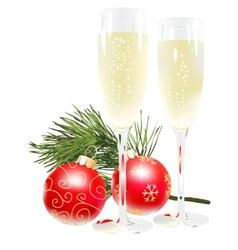 Champagne and new year ball vector