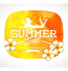 Summer time greeting and frangipani flowers vector