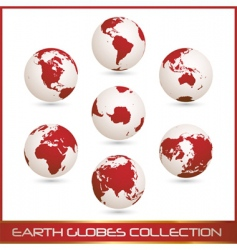 Earth globes colection white red vector