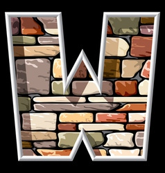 Stone letter w vector