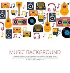 Music retro symbols background vector