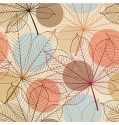 Seamless pattern with autumn leaves in a retro vector