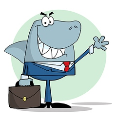 Business shark waving a greeting vector