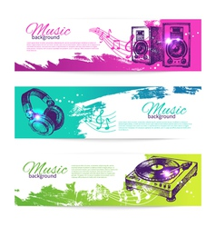 Vintage banners of music design vector