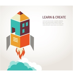 Education rocket online learning concept vector