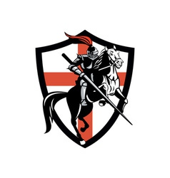 English knight riding horse england flag retro vector