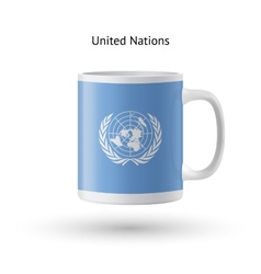 United nations flag souvenir mug on white vector