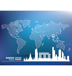 Map pin with bangkok skyline vector