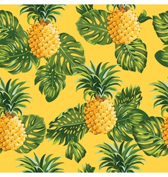 Pineapples and tropical leaves background vector