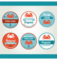 Set of seafood icons retro labels stamps vector