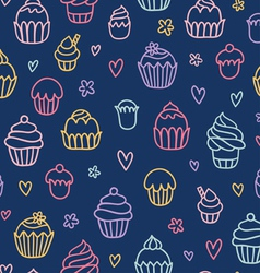 Cupcakes outlined colorful seamless pattern on vector