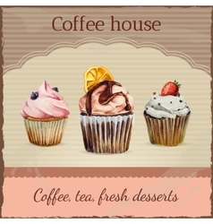 Coffee house advertisement with watercolor vector