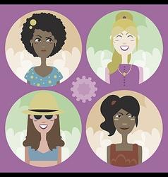 Set of four cartoon avatars - girls 02 vector