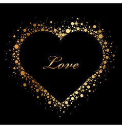 Black background with glowing heart vector