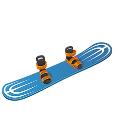 Blue snowboard on white background vector
