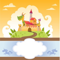 Card with cartoon dragon in castle vector