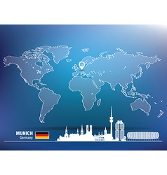 Map pin with munich skyline vector