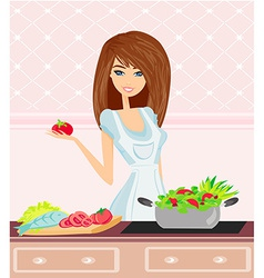 Beautiful young woman cooking fresh vector