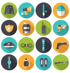 Police uniform and set protection icons on vector