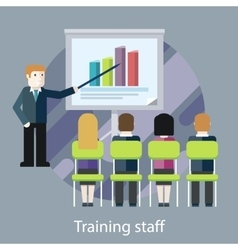 Training staff people in the hall and a lecturer vector