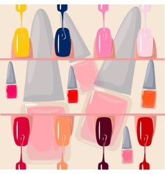 Set of multicolored nail polish brushes vector