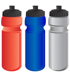 Red blue and grey sports water bottle vector